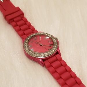 Geneva Women's Pink Quartz Watch with Rhinestones